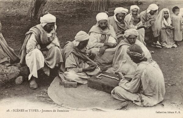 A group of Algerian men playing Dominoes Date: circa 1902