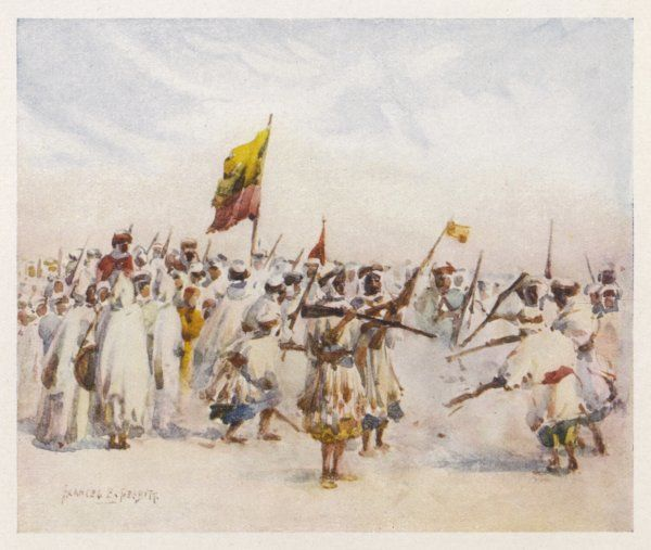 The Mozabites of Biskra, Algeria, celebrate with a fantasia, or mock-fight, which involves firing guns close to the feet of your opponents, both crazed with excitement