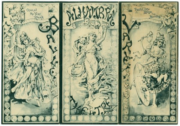 The cover of a programme for the Alhambra theatre, London. The bill featured comics, jugglers, singers, and ballet. Date: 1892