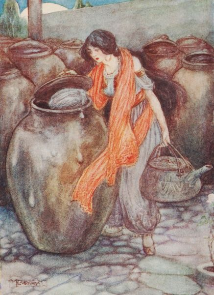 Ali Baba by Lilian Govey. 'Morgiana went from jar to jar and found a man in every one except the last'. A fairy tale from One Thousand and One Nights Date: 1912
