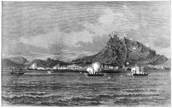 During the civil war, Alicante is besieged by the federalists of Cartagena : naval vessels bombard the town