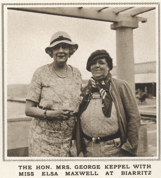 Mrs George Keppel, otherwise known as Alice Keppel, formerly mistress of King Edward VII, pictured here on holiday at Biarritz in 1933 with Elsa Maxwell, American gossip columnist, writer and society hostess