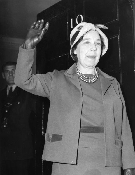 Alice Martha Bacon, Baroness Bacon (1909-1993) English politician, elected as MP for Leeds SE in the 1945 election. Here at 10 Downing Street to meet Harold Wilson on 19th October 1964