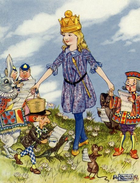 Alice in Wonderland by Charles Folkard. Queen Alice and her friends 1921
