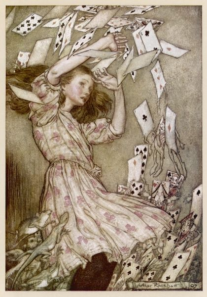 The pack of cards come flying down on Alice Date: First published: 1865
