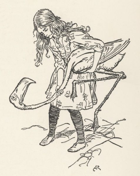 Alice uses flamingo as croquet mallet. Date: First published: 1865