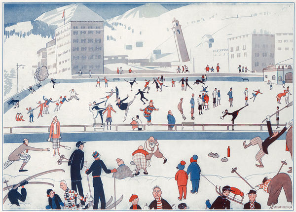 A humorous colour illustration by Joyce Dennys showing winter sports being played on a large ice rink
