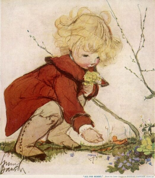 A little girl with blonde curls wearing a red coat gathers primroses, violets and other spring flowers, especially for her mother