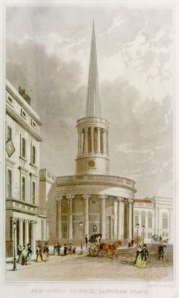 All Souls Church and the house of James Watts in Langham Place, London, England