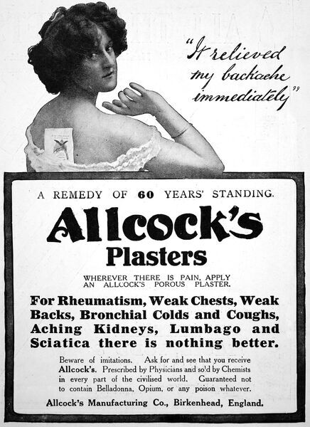 An advertisement for Allcock's plaster, for use on rheumatism, weak chests and wek backs. Made in Birkenhead, England