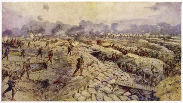 British troops advance to the attack across the trenches