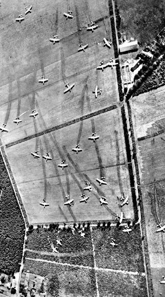 Aerial photograph showing gliders of the Allied Airborne Army after they had landed on Holland, September 1944