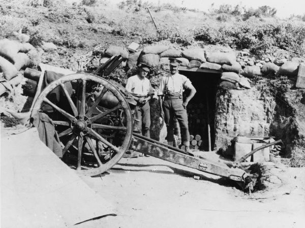 4.5inch howitzer just above Y Beach, with an ammunition dugout behind it during World War I at Gallipoli