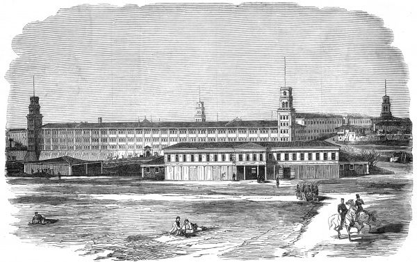 Illustration showing the Barracks for Allied troops at Scutari, Turkey, 1854