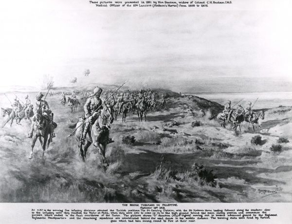 Artist's impression, based on a photograph, of the Allied breakthrough in Palestine against the Turkish troops during the First World War. Five infantry divisions attacked the Turkish positions. D Squadron, led by Major Vigors, served as the advance guard