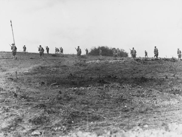 Allied French and British infantry advancing near Montfaucon in France during World War I