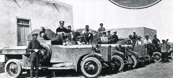 Allied naval armoured cars at Mersa Matruh, a base on the north coast of Egypt, during the First World War. Date: circa 1916