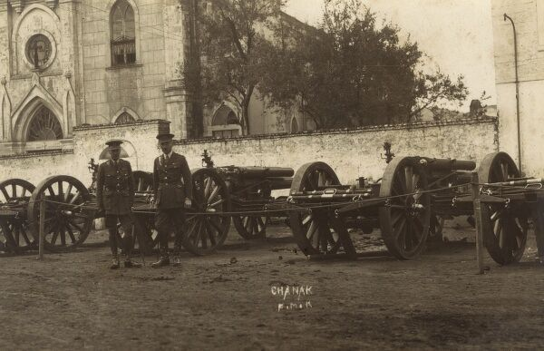 Allied troops in front of the Armenian Church at Chanakale, Turkey. The Church is now an ethnological Museum and an Arts Studio for students. Date: circa 1920s