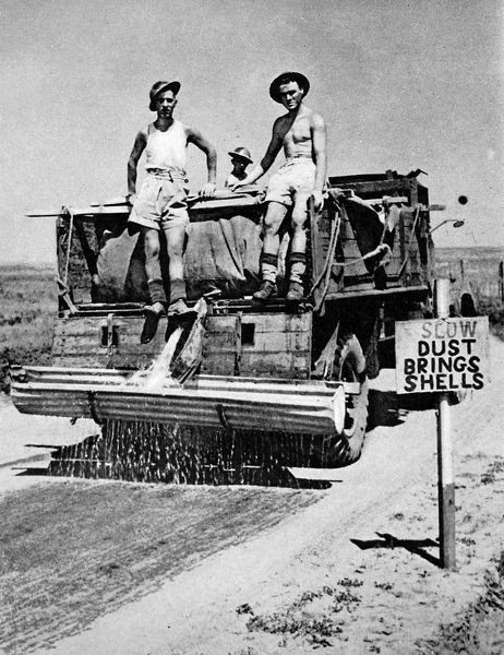 Photograph showing an Allied truck employed in watering dusty Italian roads, 1944