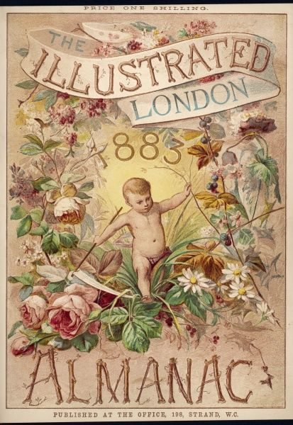 A cover design for a 1883 Almanack featuring a small cherub hiking through some floral undergrowth!