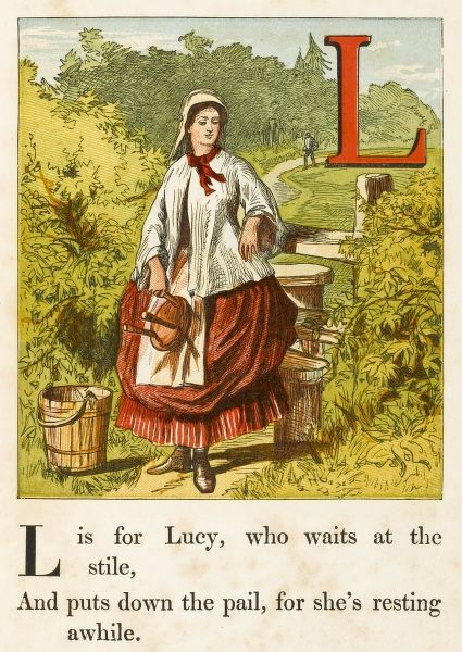A milkmaid at the stile with milking stool and pail. (the L is for 'Lucy')