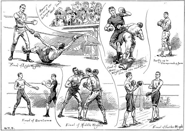 Engraving showing a series of scenes from the Amateur Boxing Championships at the Central Hall, Holborn, London, 1890