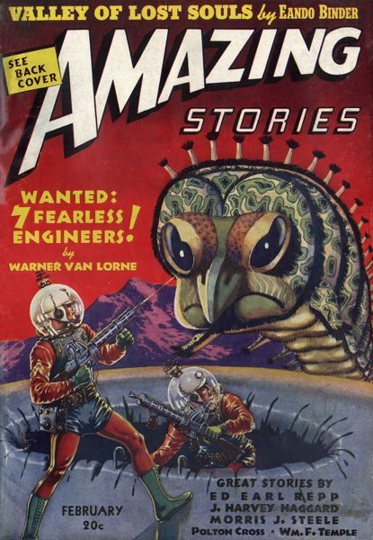 'WANTED, SEVEN FEARLESS ENGINEERS' (Warner van Lorne) The encounter between Earth travellers and the fauna of Jupiter Date: 1939