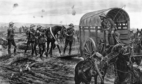 An ambulance for wounded horses on the battlefield : the Canadian Mounted Veterinary Corps at work with field artillery. Men of the Mounted Section of the Canadian Veterinary Corps are seen collecting wounded horses in the firing line of the field artillery
