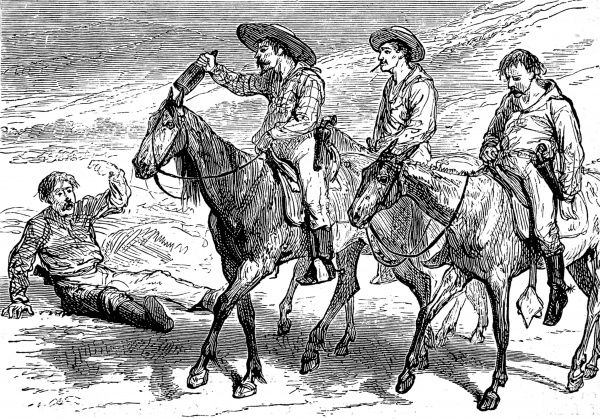 Three very drunk men on horseback, one waving from the gutter