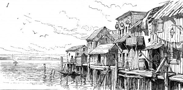 Wooden framed houses on long stilts on the waterfront in San Francisco