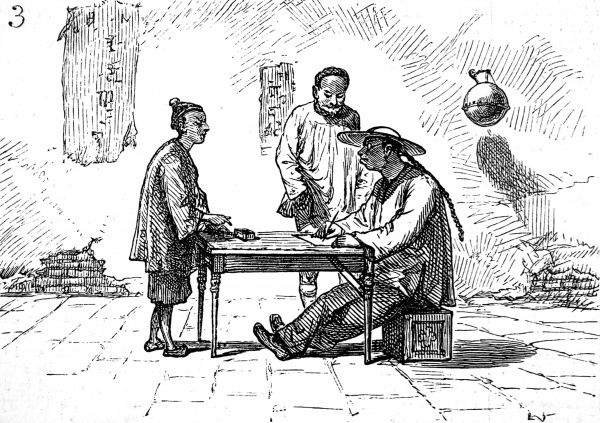 Street scene with Chinese in traditional dress, one man seated with a wide brimmed hat and pigtail, writing letters for his customers
