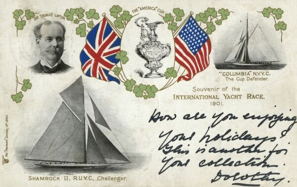 The America's Cup race of 1901 saw Scottish businessman Sir Thomas Lipton as the Challenger with his yacht, Shamrock II of the Royal Ulster Yacht Club (designed by George Lennox Watson), taking on the reigning champion Columbia of the New York Yacht Club
