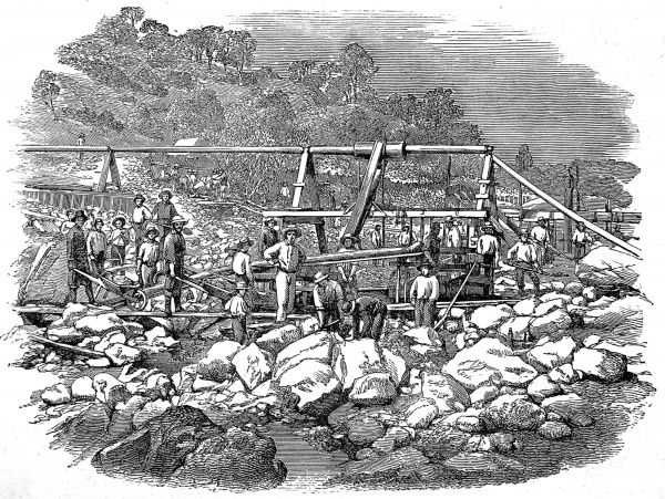 Industry Bar was a heavily mined area of the Californian gold diggings and this engraving from a photograph shows the elaborate system of bringing water to the mining area
