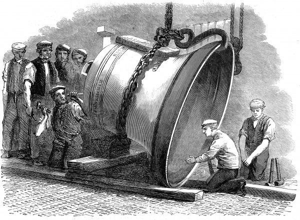 The bell was the largest casting in steel up until that time. The bell weighed 2tons 12 cwt or 5,824 lb, height 5 feet 3 inches, diameter at the mouth 6 feet 2 inches, thickness at the sound bow 4and a quarter inches
