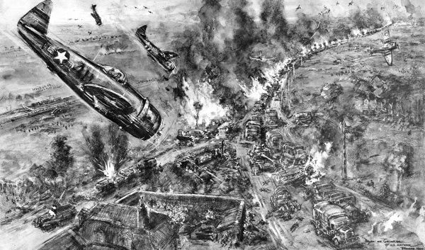 Illustration showing 'Thunderbolts' and 'Lightning' of the US Air Force attacking a column of German vehicles attempting to escape from the 'Falaise Pocket', France, August 1944