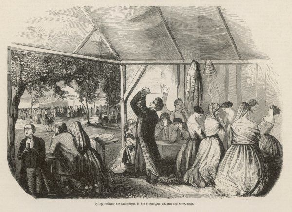 NORTH AMERICA A 'CAMP MEETING' in the American backwoods - where extraordinary fervour and emotional scenes were frequent