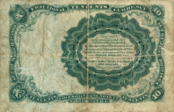 Fifth Issue: February 26, 1874 to February 15, 1876 of an american (USA) banknote on 10 cent. Back Date: 1874