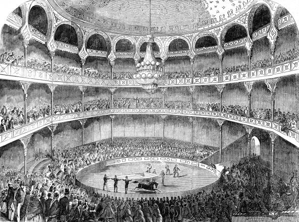 Engraving showing the American Circus performing at the Alhambra Palace, Leicester Square, London, 1858. The circus was probably Howes and Cushing's 'Great United States Circus', which was performing at the Alhambra that year