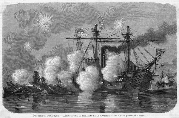 Battle between the federal warship Mississippi and the Confederate ram Manassas during the American Civil War