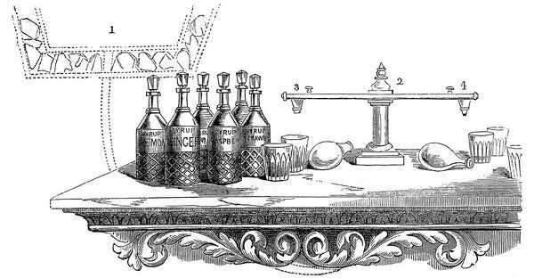 An illustration of a typical American soda fountain with bottles of orange, lemon, raspberry and strawberry syrup to make flavoured soda drinks