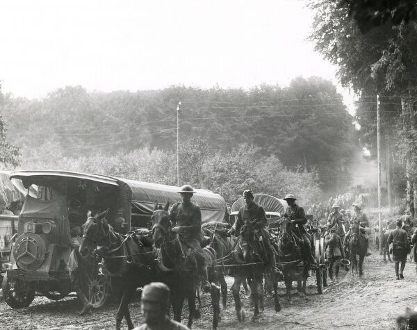American and French ammunition being transported to the front at the start of the Aisne-Marne Offensive in northern France, towards the end of the First World War. Date: 18 July 1918