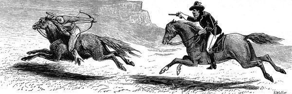 US Trooper in hot pursuit of an Indian who is trying to turn and use a bow and arrow on the trooper. Both are on horseback. The landscape is a typical rocky outcrop