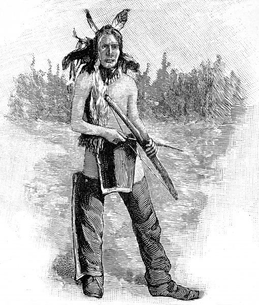 Sioux brave defending the boundary of the camp with a bow and arrow