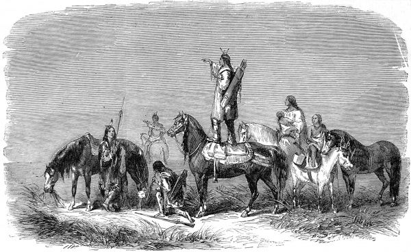 Pawnee Indian standing on his horse, looking out for the enemy; either the Blackfoot or Comanches