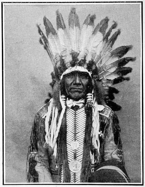 In all their war paint, Chiefs of the vanishing Sioux tribe