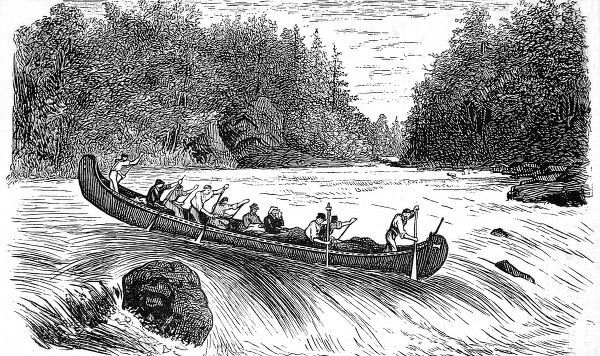 Indian canoe shooting rapids in Red River Territory