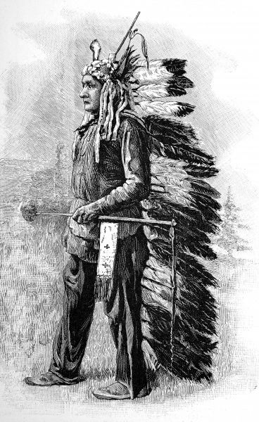 Inspirational leader of the Sioux, who, with Crazy Horse, coordinated major resistance against the Americans and defeated Custer. Sitting Bull died after being shot, shortly after this image was published on 15th December 1890
