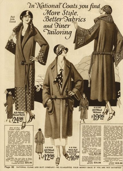 A collection of 1920s american coats, from a clothing catalogue. Date: 1924
