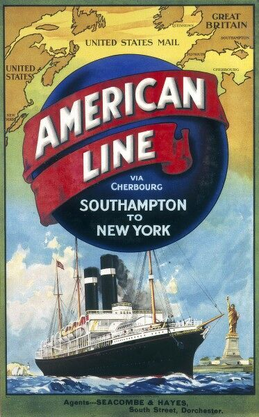 American Line Poster advertising cruises from Southampton to New York