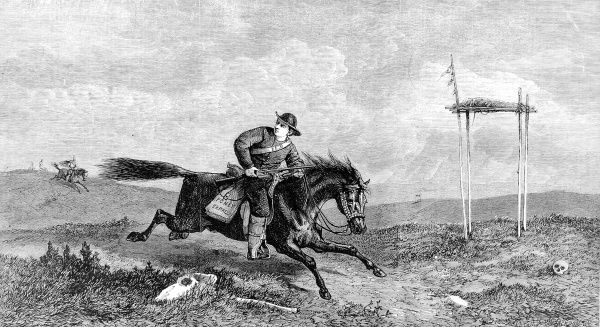 The famous American Pony Express to carry post from coast to coast was set up by Mr WH Russell. The first journey was made on April 9th 1860 and took seven and a half days for ponies to cover 1,900 miles in relays